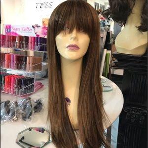 Accessories - Wig warm brown bangs wig long 2019 style